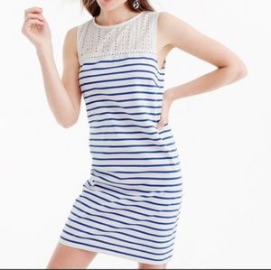 S J. Crew Eyelet Yoke Striped Dress